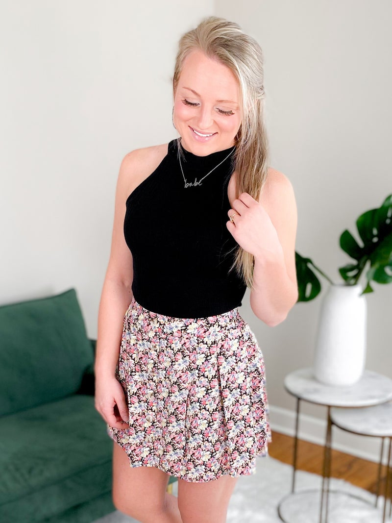 Floral Mini Skort With Button Detail (Multiple Colors)