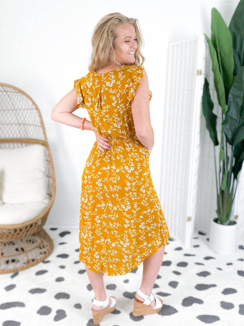 Mustard Ditsy Floral Gauzy Dress