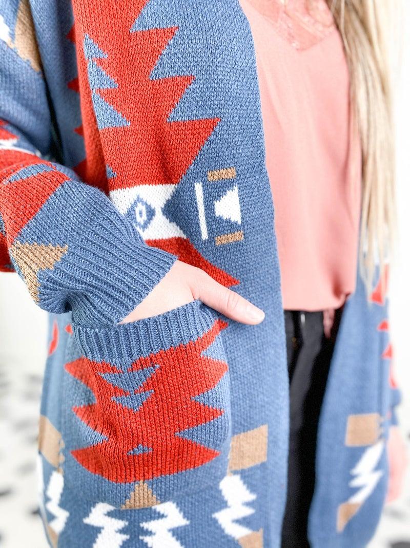 PLUS/REG Red & Blue Aztec Long Open Cardigan