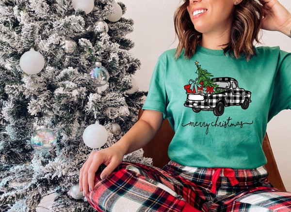 Merry Christmas Buffalo Plaid Truck