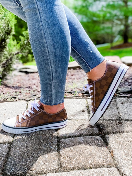 Chess Brown Checkered Low Top Sneakers