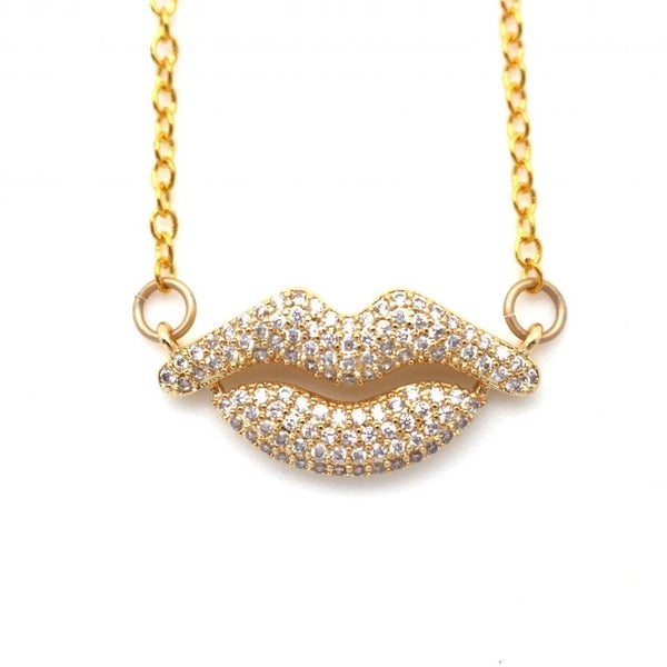 RESTOCK!!! Karli Buxton Pave Lips Charm Necklace (Multiple Colors)