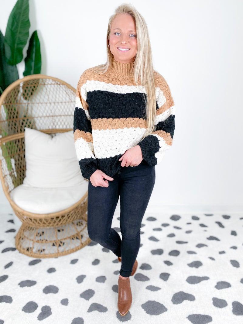 Turtleneck Color Block Knit Sweater