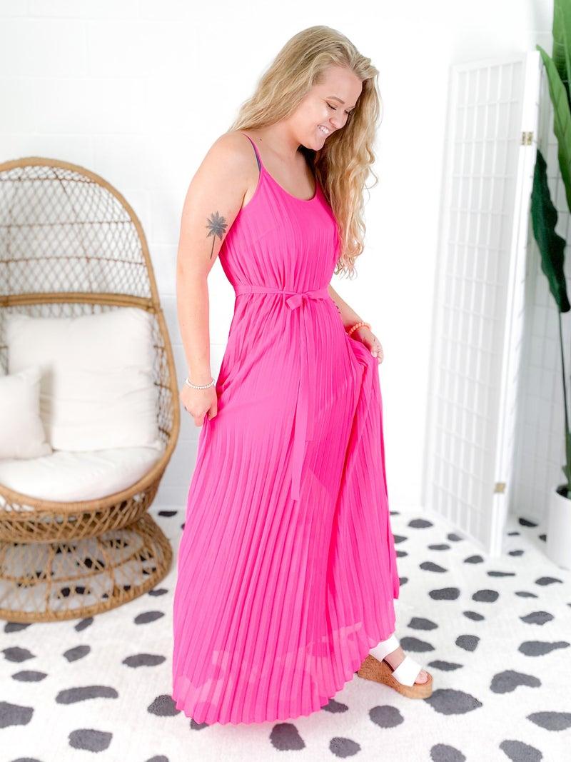 PLUS/REG PANK Pleated Midi Dress