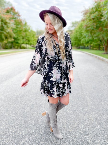 Floral Print Wrap Dress With Tie Front And Ruffled Hem