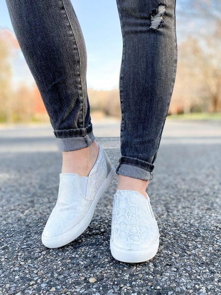 Silver Snake Slip On Sneakers