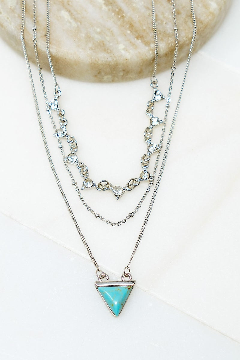 Triangle Stone Layered Necklace (Multiple Colors)