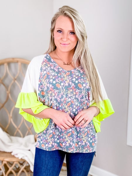 Floral Short Sleeve V Neck Top With Neon Detail (Multiple Colors)