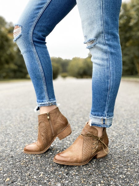 Camel Chunky Low Heeled Booties