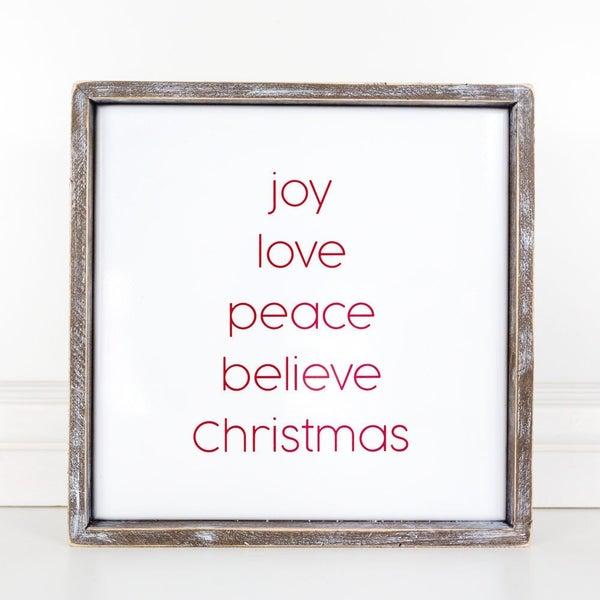 Joy Love Peace Believe Christmas Wooden Sign 14x14