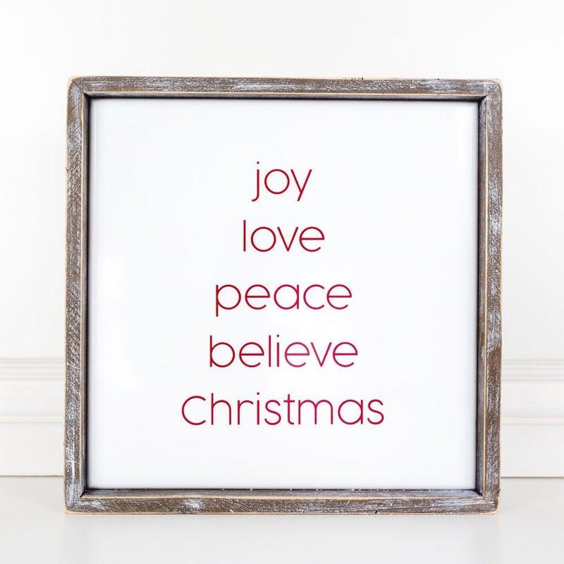 Joy Love Peace Believe Christmas Wooden Sign 14x14