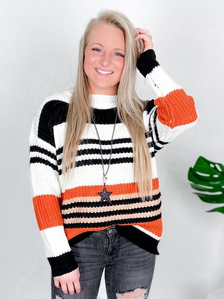 Coral And Black Striped Loose Fit Sweater