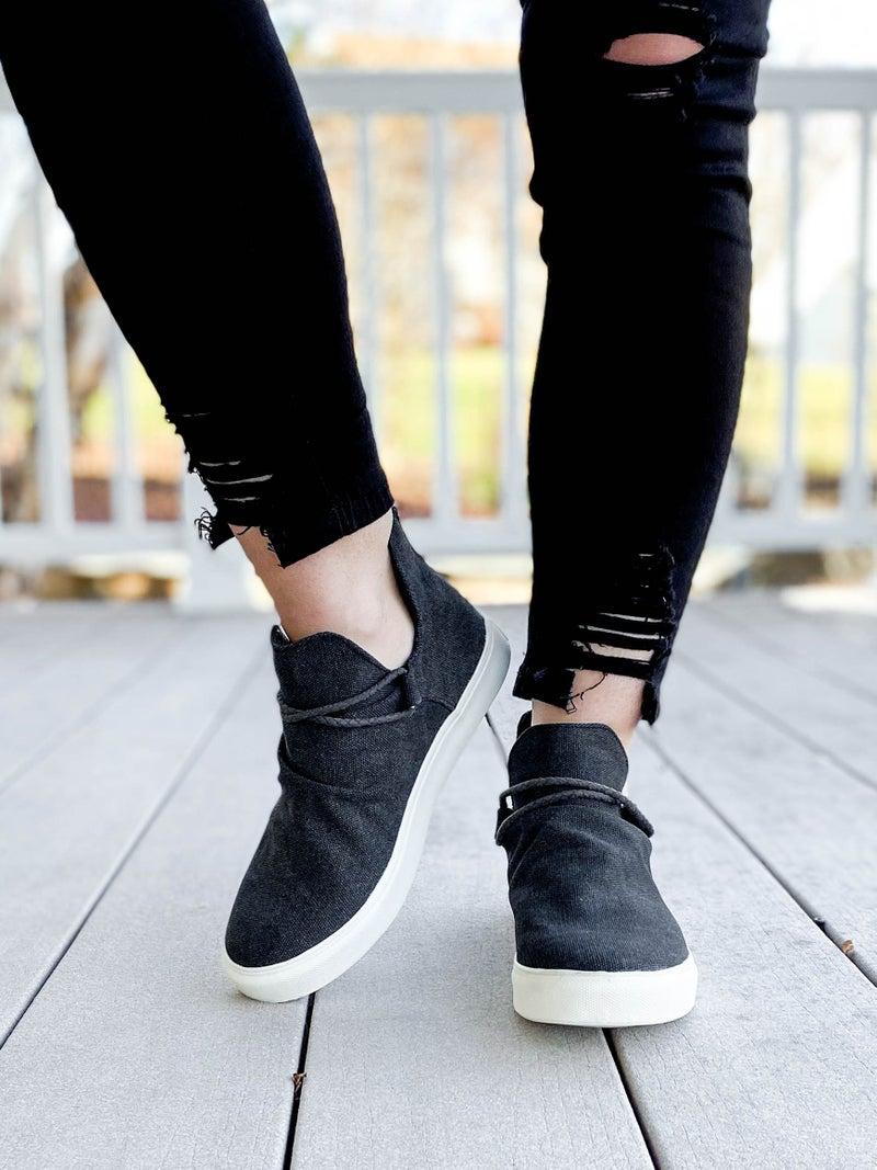 Black High Top Slip On Shoes