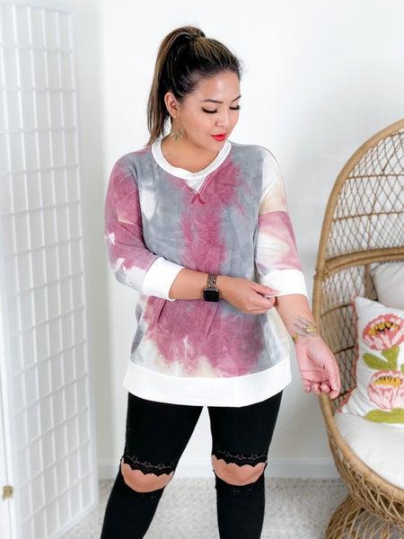 PLUS/REG Honeyme Ruby & Taupe Cloudy Tie Dye Top