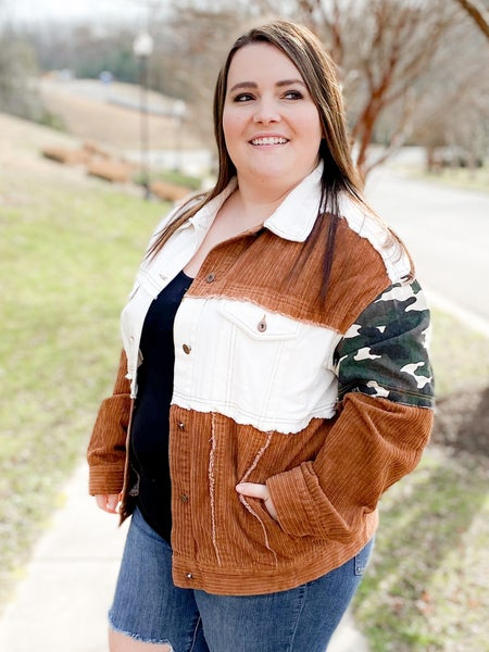 Button Front Color Block Jacket With Animal Print And Camo Patches (Multiple Colors)