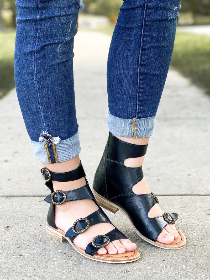 Black Strappy Buckle Flat Sandals