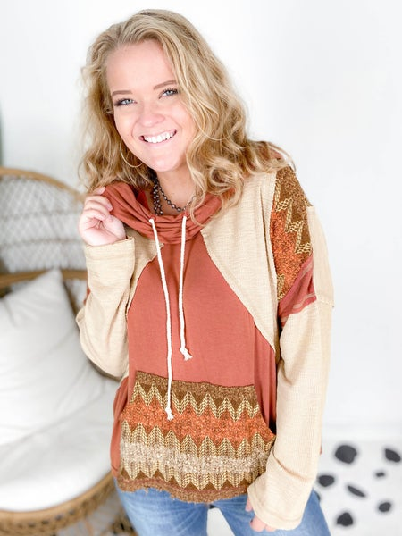 POL Mixed Texture Aztec Hooded Top (Multiple Colors)