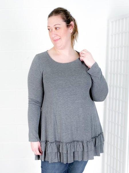 PLUS Grey Ruffle A-Line Shirt Dress