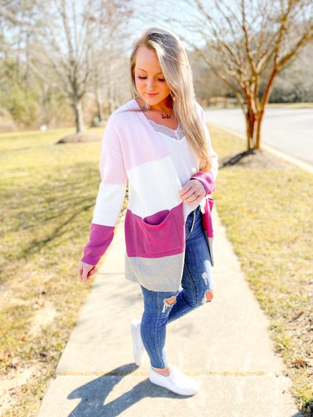 PLUS/REG Long Sleeve Color Block Cardigan Sweater