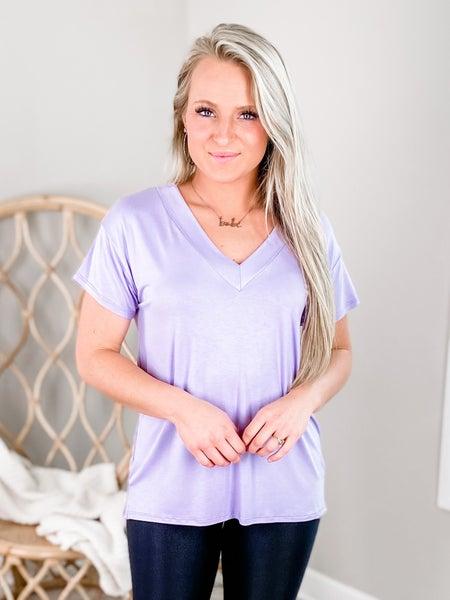 PLUS/REG Solid Short Sleeve V Neck Top (Multiple Colors)