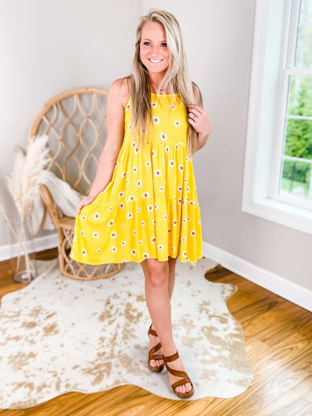Solid Lace-Up Dress With Sunflower Detail (Multiple Colors)