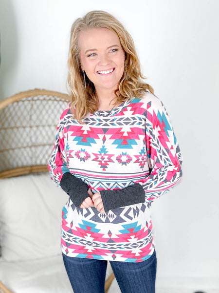 Aztec Print Top With Contrast Sleeve