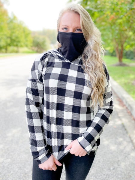 PLUS/REG Buffalo Plaid  Hooded Top With Mask Detail (Multiple Colors)