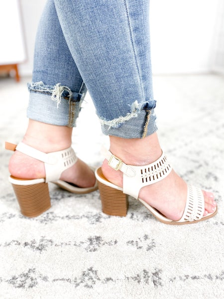 Cut Out Woven Heeled Sandals