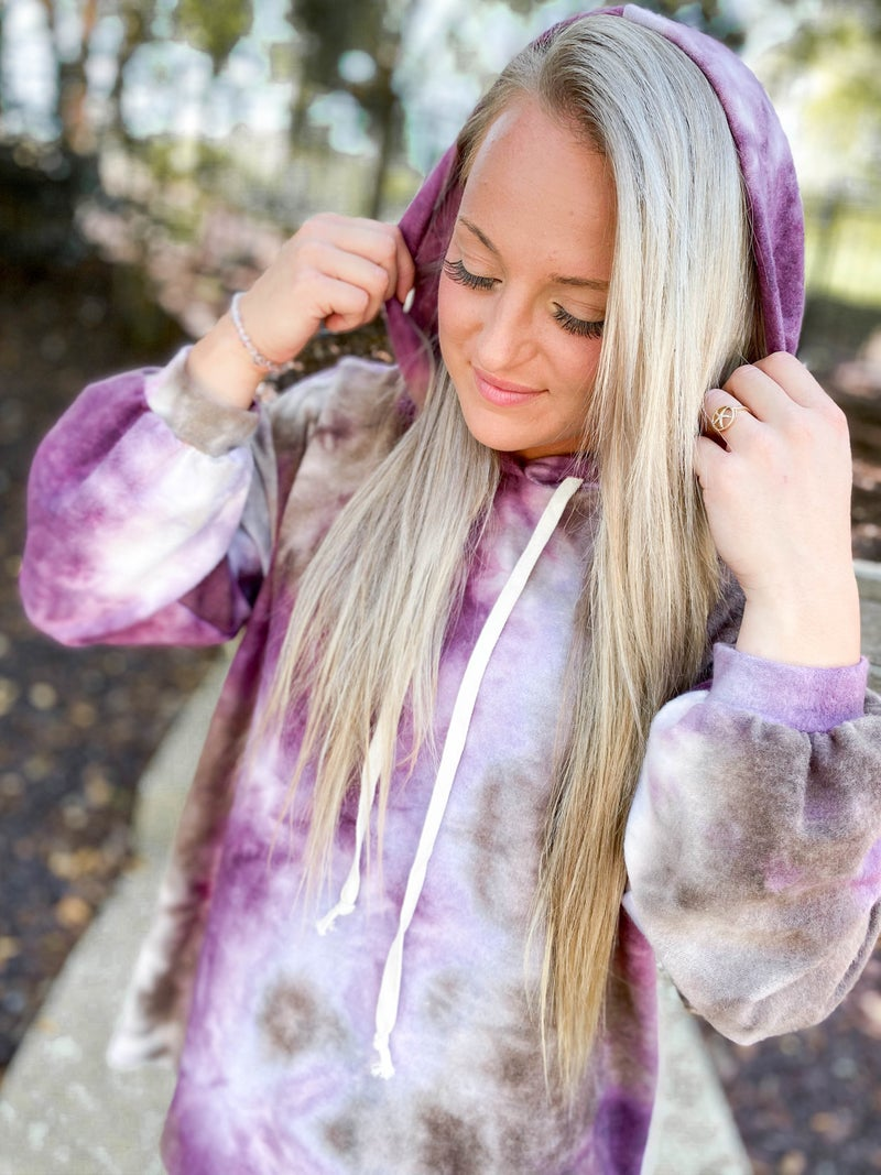 PLUS/REG Honeyme Cozy & Cozy Oversized Galaxy Dyed Hooded Top