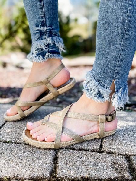 Blowfish Gold Strappy Espadrille Sandals