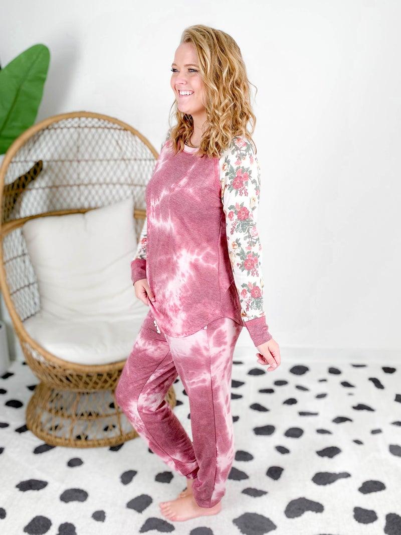PLUS/REG Honeyme Burgundy Tie Dye & Floral Lounge Set