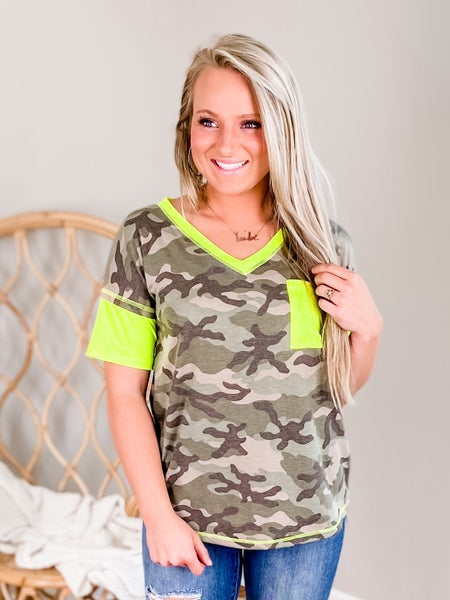 PLUS/REG Short Sleeve V Neck Camo Top With Neon Yellow Detail