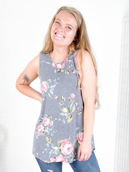 NEW COLORS!! PLUS/REG Sleeveless Floral Print Top (Multiple Colors)