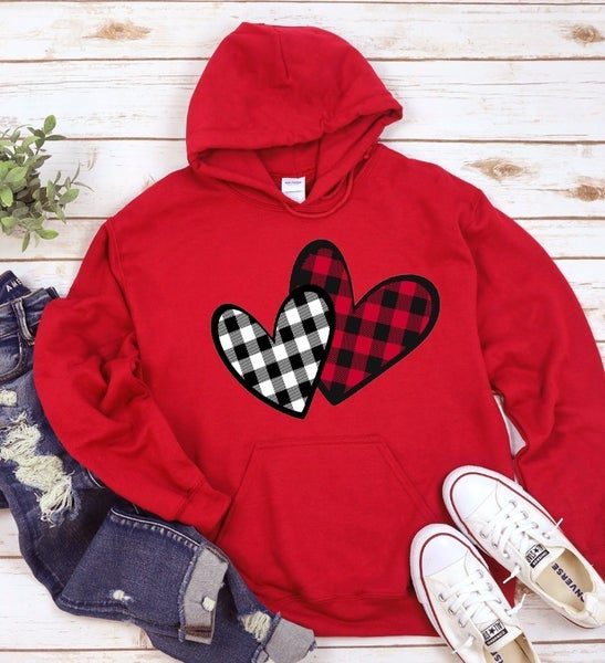 Buffalo Plaid Heart Hoodie Fleece Sweatshirt