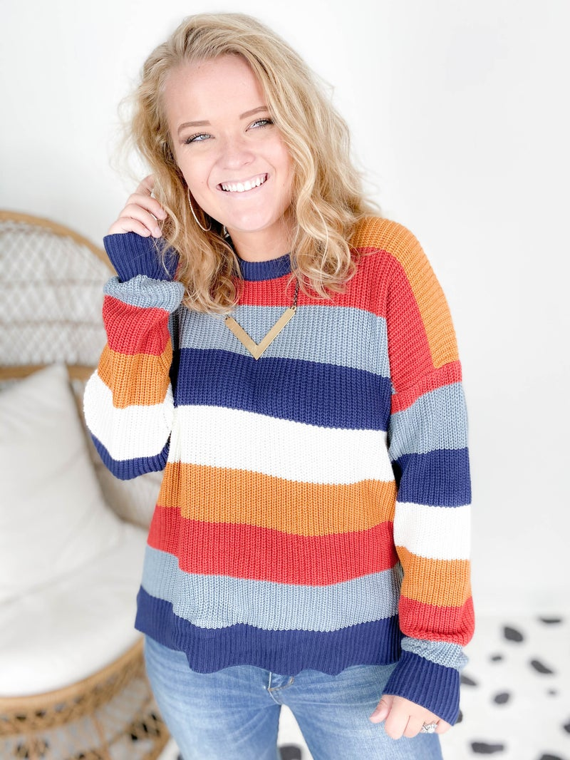 Colorblock Striped Knit Sweater (Multiple Colors)