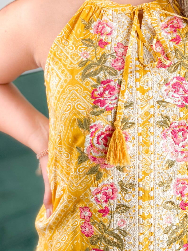 PLUS/REG Front Tie Sleeveless Top With Embroidery Detail (Multiple Colors)