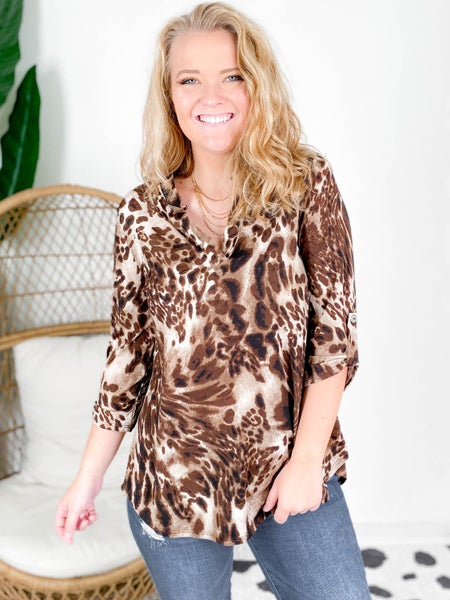 PLUS/REG Leopard Gabby High Low Blouse