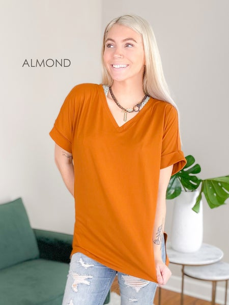 Door Buster! PLUS/REG Zenana Rolled Sleeve V Neck Top With Side Slit (Multiple Colors)