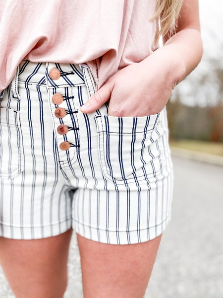PLUS REG Judy Blue Sail Away Button Fly Pinstripe Shorts