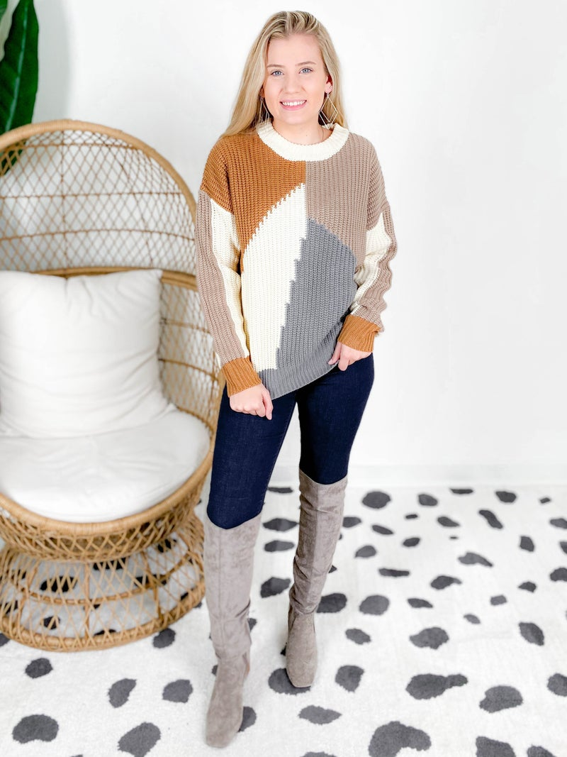 Ribbed Color Block Sweater (Multiple Colors)
