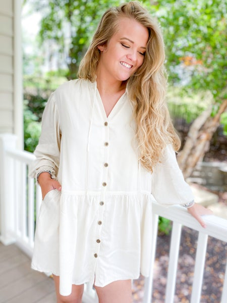 Button Down Ruffle Neck Tunic Dress (Multiple Colors)
