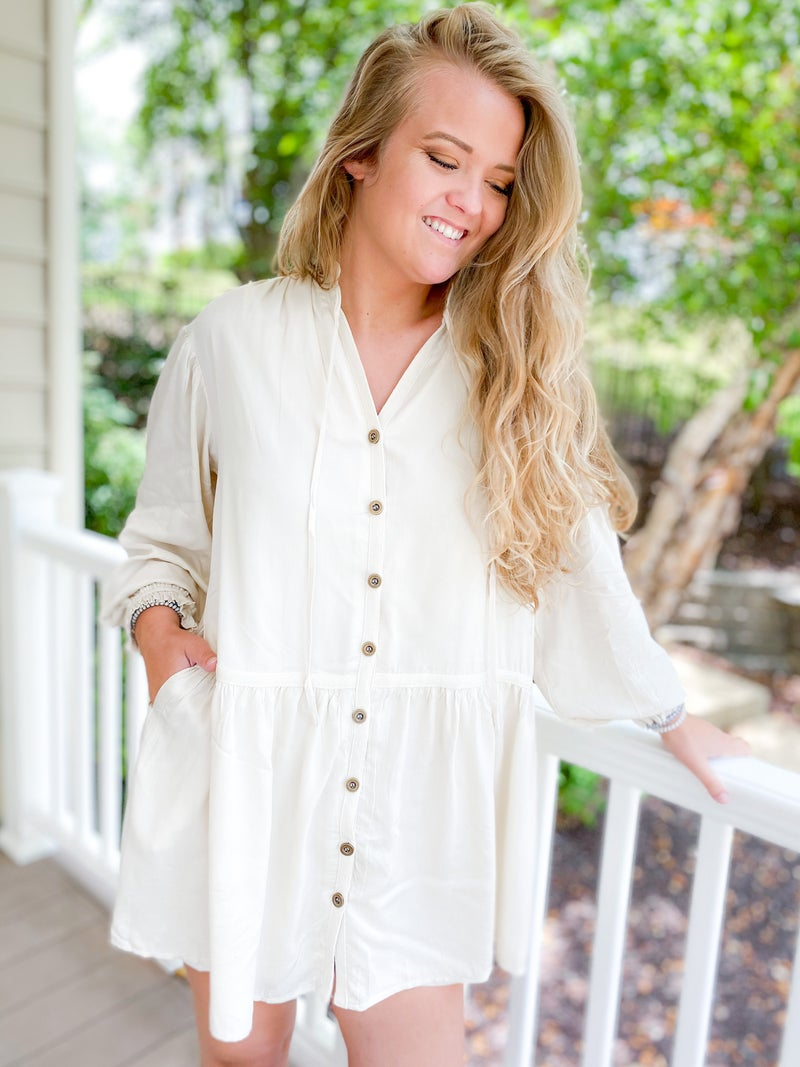Button Down Ruffle Neck Tunic Dress (Multiple Colors)