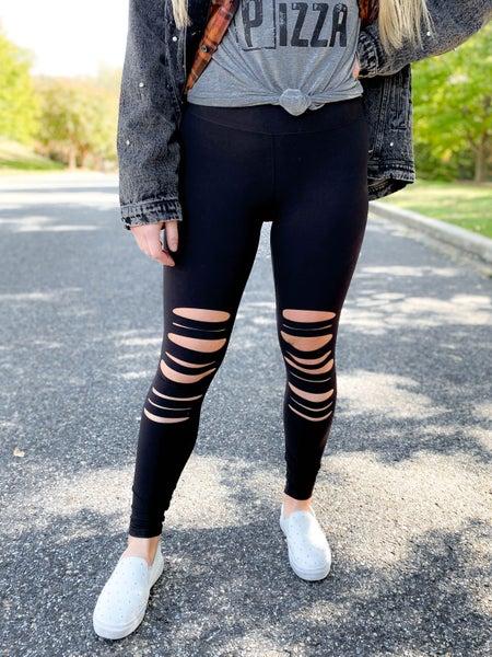 PLUS/REG Butter Soft Black Leggings with Laser Cut Detail