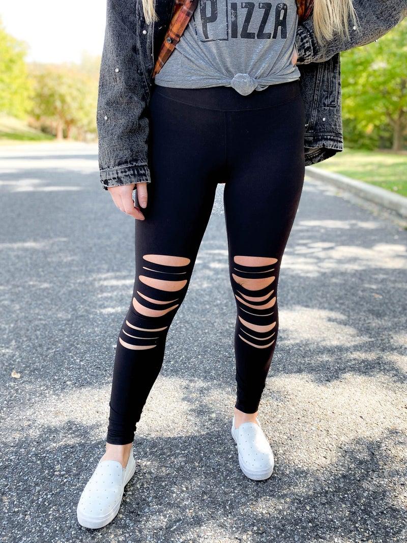 RESTOCK!!! PLUS/REG Butter Soft Black Leggings with Laser Cut Detail