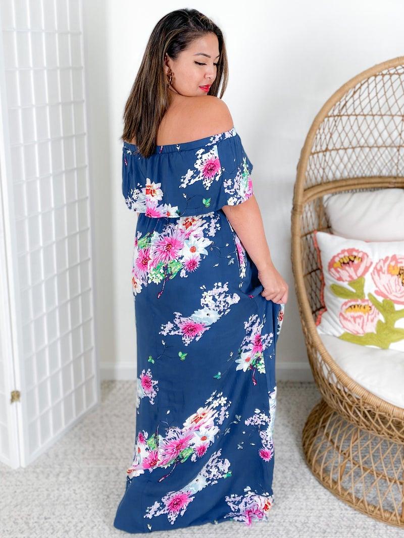 Navy Floral Print Off Shoulder Ruffle Maxi Dress