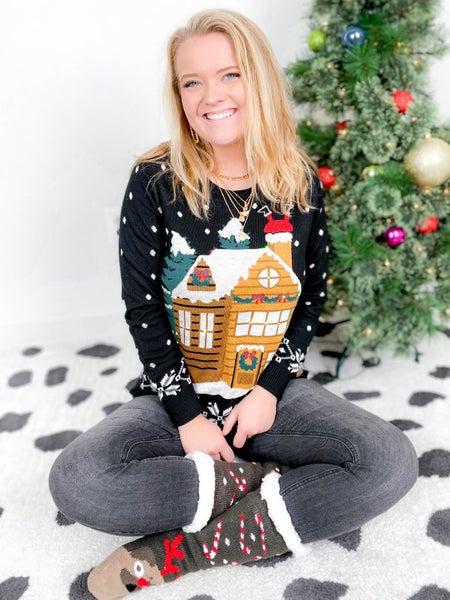 PLUS/REG Women's Light Up Gingerbread House Christmas Sweater