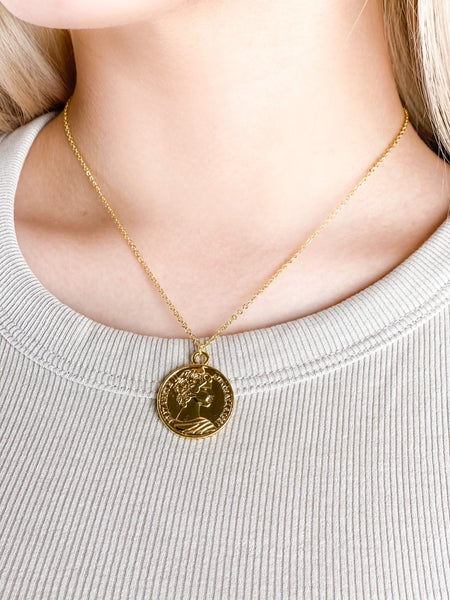Gold Queen Medallion Necklace