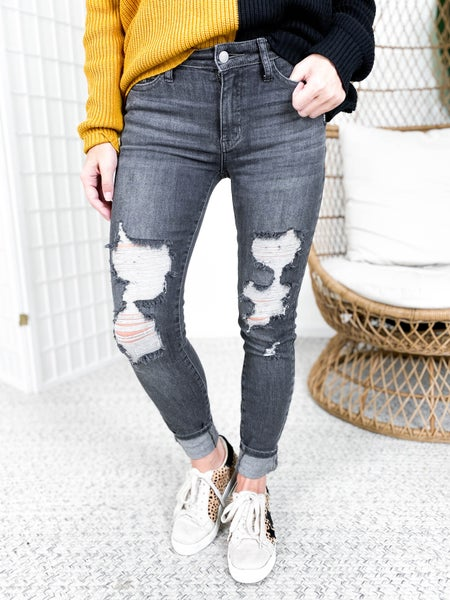 PLUS/REG Judy Blue 50 Shades of Grey Distressed Jeans