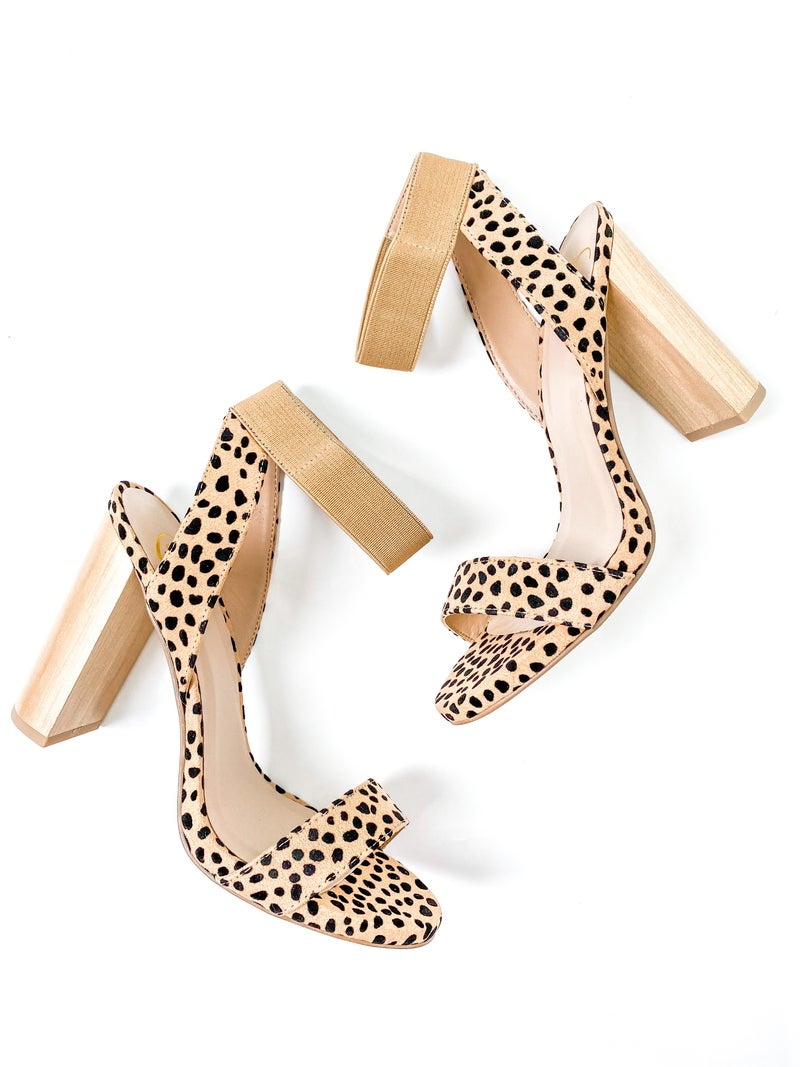 Cheetah Block Heels with Ankle Strap