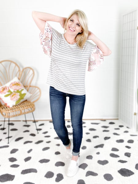 PLUS/REG Stripe Top with Paisley Ruffle Sleeves (Multiple Colors)